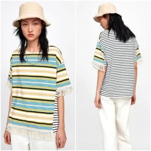 Zara striped shirt with fringe hem detailing